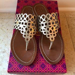 Tory Burch Davy Laser-Cut Thong Sandal